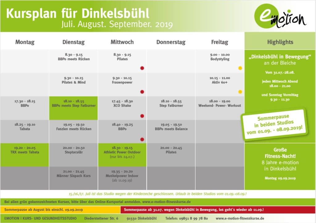 Kurslplan Dinkelsbühl Juli August September